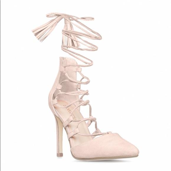 e6a18036b53a Blush Lace Up Heels- Arlena